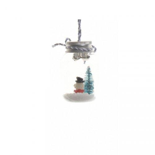 Addobbo Natalizio Boccaccio in Vetro con Coperchio Pupazzo di Neve e Neve (7 cm) - Vetro