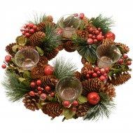 Corona dell'Avvento Rami di pino e Bacche 4 portacandele (33 cm) - Artificiale