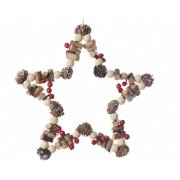 Decorazione da appendere Stella di Natale Natura Maxi (23 cm) - Pino e Legno