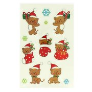 12 adesivi natalizi glitterati - Gatti e fiocchi di neve