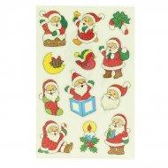 12 adesivi natalizi glitterati - Babbo Natale