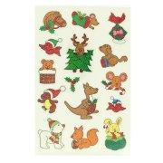 12 adesivi natalizi glitterati - Animaletti simpatici