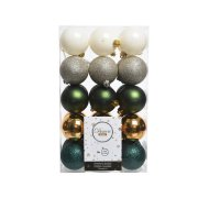 30 Palle di Natale Verde/Bianco/Argento/Oro (6 cm)