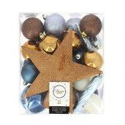 32 Palle di Natale Blu/Cioccolato/Bianco + Puntale Stella color Bronzo