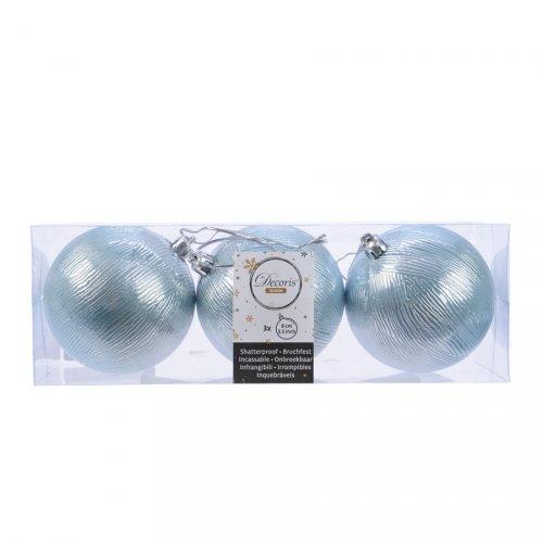 3 Palle di Natale in Rilievo Blu Smerigliato(8 cm)