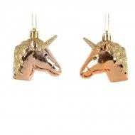 2 Addobbi Natalizi Unicorni Dorati (6 cm)