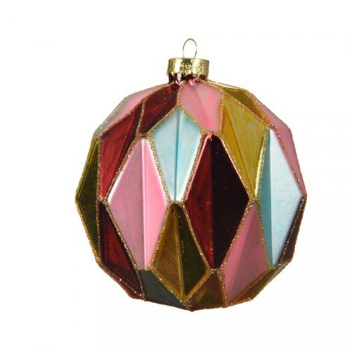 1 Maxi Palla di Natale Arlecchino (10 cm) - Vetro