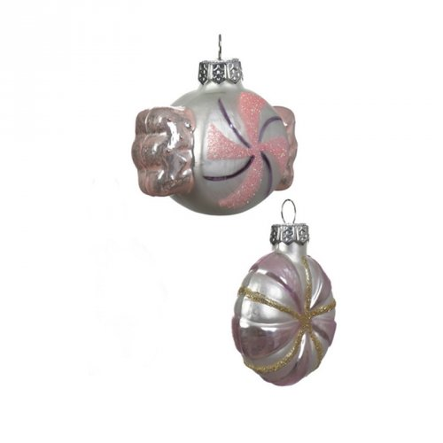 2 Addobbi Natalizi Caramelle Perlate Rosa/Viola Intenso (6 cm) - Vetro