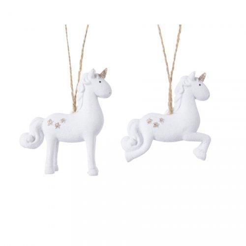 1 Addobbo Natalizio Unicorno Bianco (8,5 cm)