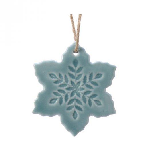 1 Addobbo Natalizio Fiocco di Neve con Fiore Blu Cielo (6,5 cm) - Porcellana