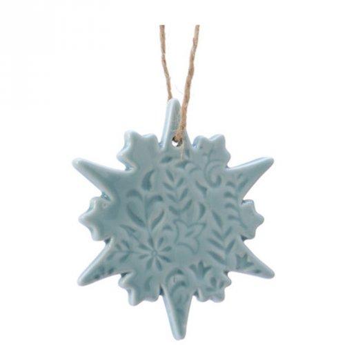 1 Addobbo Natalizio Fiocco di Neve con Stella Blu Cielo (7,5 cm) - Porcellana