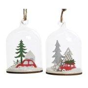 1 Piccola Decorazione da appendere Campana con Neve Automobile (6 cm) - Vetro / Legno