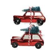 2 Auto con Albero di Natale da Appendere - Vetro