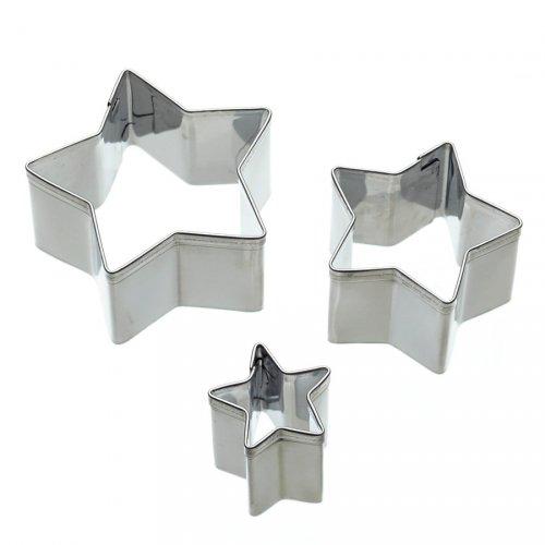 Set di 3 mini tagliabiscotti stelle in metallo