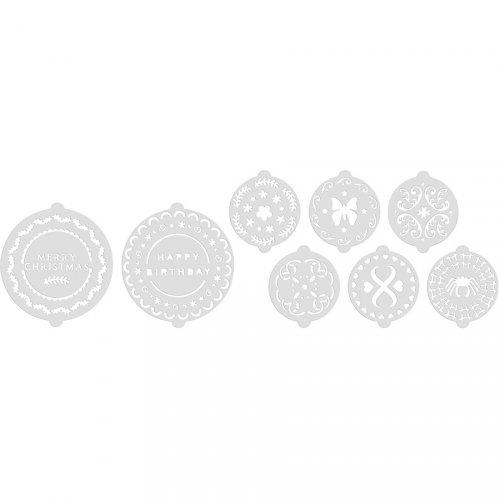 Set di 8 stencil per torte