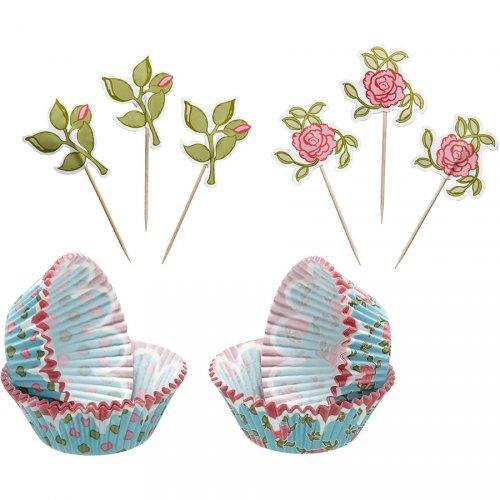 Kit 24 Pirottini e Decorazioni per cupcake Garden Romance