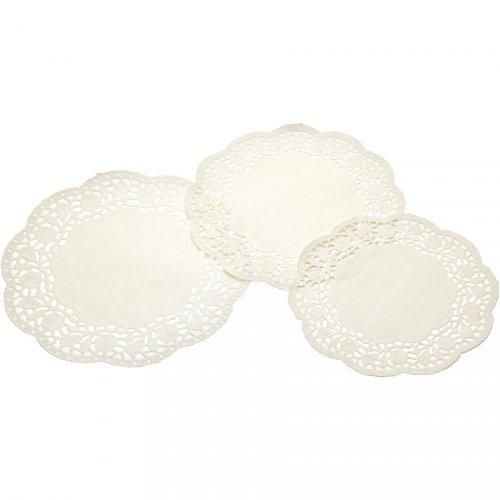 24 centrini in pizzo di carta avorio (20, 22 e 25 cm)
