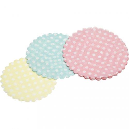 30 mini centrini pastello a pois (9, 10 e 11 cm) - Carta