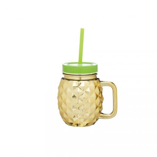 1 bicchiere Ananas oro (50 cl) + coperchio + cannuccia