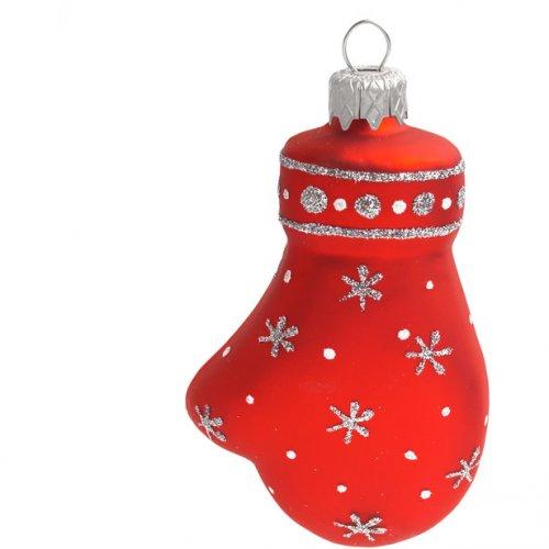 Palla di Natale Guanto Rosso/Argento (10 cm) - Vetro