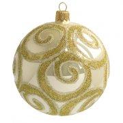 Palla di Natale Beige con Arabeschi Dorati (10 cm) - Vetro