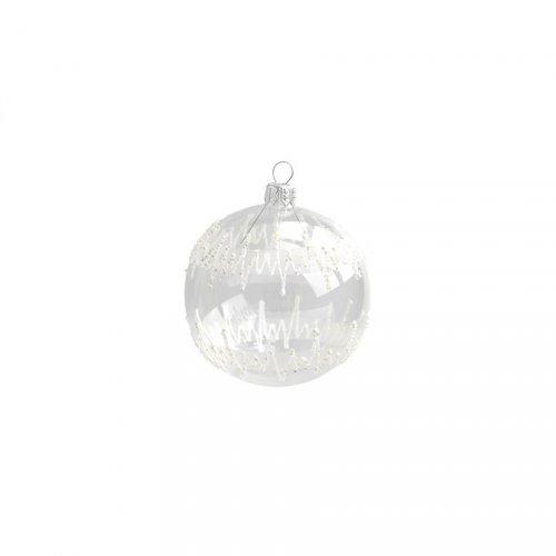 Palla di Natale Trasparente Zig Zag (8 cm) - Vetro