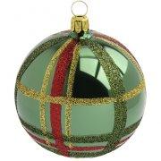 Palla di Natale Tartan a Specchio Verde (8 cm) - Vetro