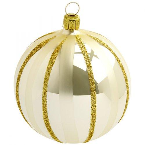 Palla di Natale Beige/Oro Natalizio (10 cm) - Vetro