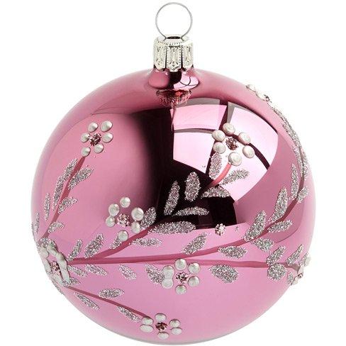 Palla di Natale Rosa con Ciliegio Giapponese (8 cm) - Vetro