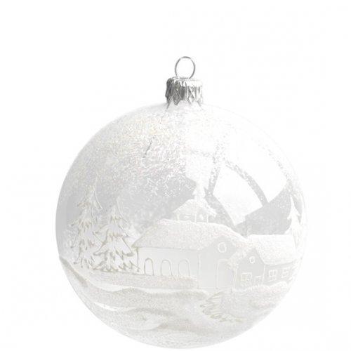 Palla di Natale Villaggio Trasparente (10 cm) - Vetro