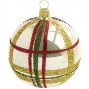 Palla di Natale Tartan a Specchio Beige (8 cm) - Vetro