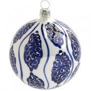 Palla di Natale Maiolica Bianca e Blu (8 cm) - Vetro