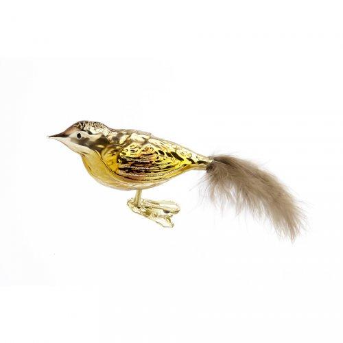 Clip Uccello Dorato con Piume (10 cm) - Vetro