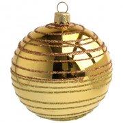 Palla di Natale Dorata a Spirale (8 cm) - Vetro