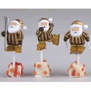 3 Stecchini decorativi Babbo Natale Sport Invernali