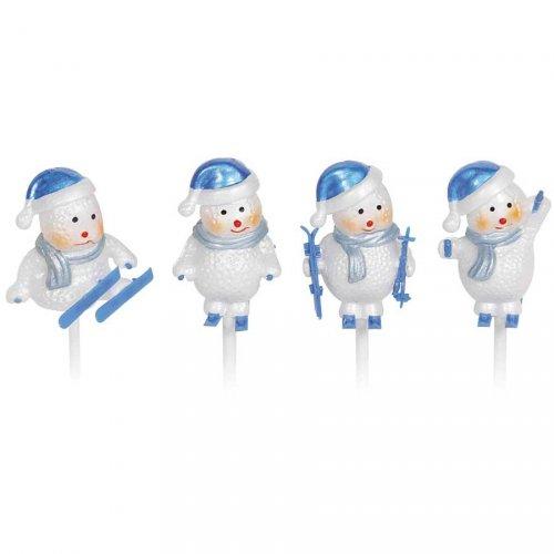 4 Pupazzi di neve blu/argento su stecchini