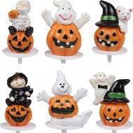 6 Stecchini con zucche 3D per Halloween - Plastica