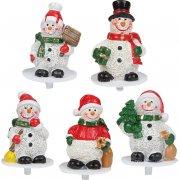 4 Stecchini decorativi Pupazzo di Neve di plastica