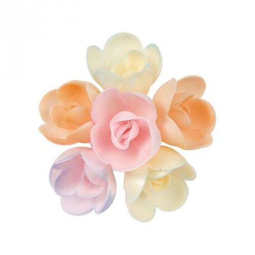 8 Boccioli di rose pastello in pasta azzima