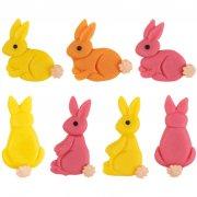 4 Decorazioni piatte in pasta di mandorle - Conigli colorati