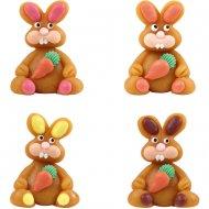 2 Conigli e carote 3D in pasta di mandorle