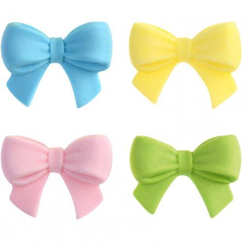 4 Piccoli fiocchi colorati in pasta di zucchero