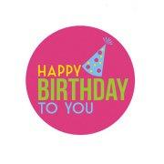 Mini disco di zucchero Happy Birthday To You (7,5 cm)