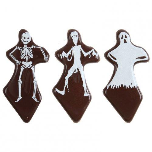 3 Stecchini con fantasmi in cioccolato fondente