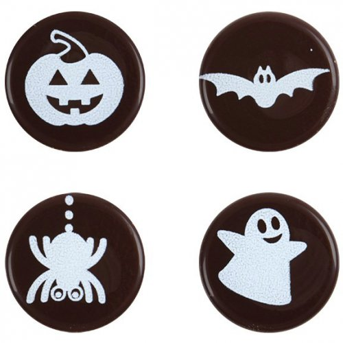 4 mini dischi di Halloween di cioccolato fondente (2 cm)