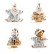 2 Stecchini decorativi Figure di Natale Oro/Argento (3,5 cm) - Plastica