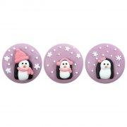 3 Medaglioni Pinguino Rosa (3,5 cm) - Zucchero