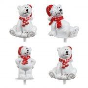 4 Stecchini decorativi Orso Polare con Cappello Rosso (4 cm) - Plastica