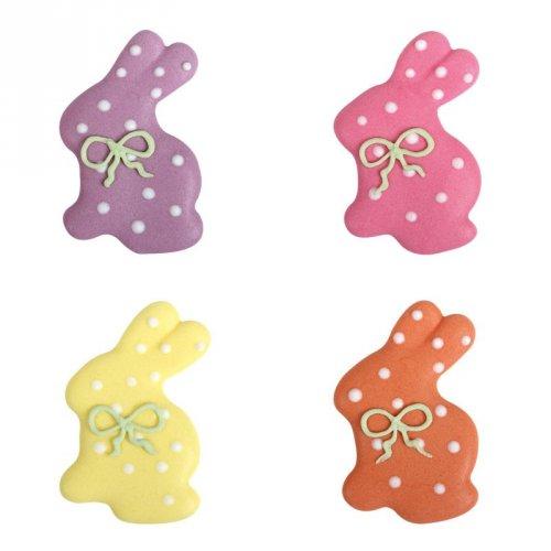 4 Conigli a pois pastello (4 cm) - Pasta di zucchero