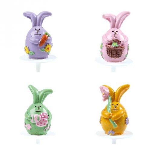 4 Stecchini con coniglietti pasquali colori pastello - Plastica